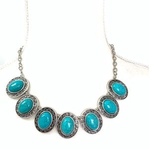 New Erica Lyons faux turquoise statement necklace